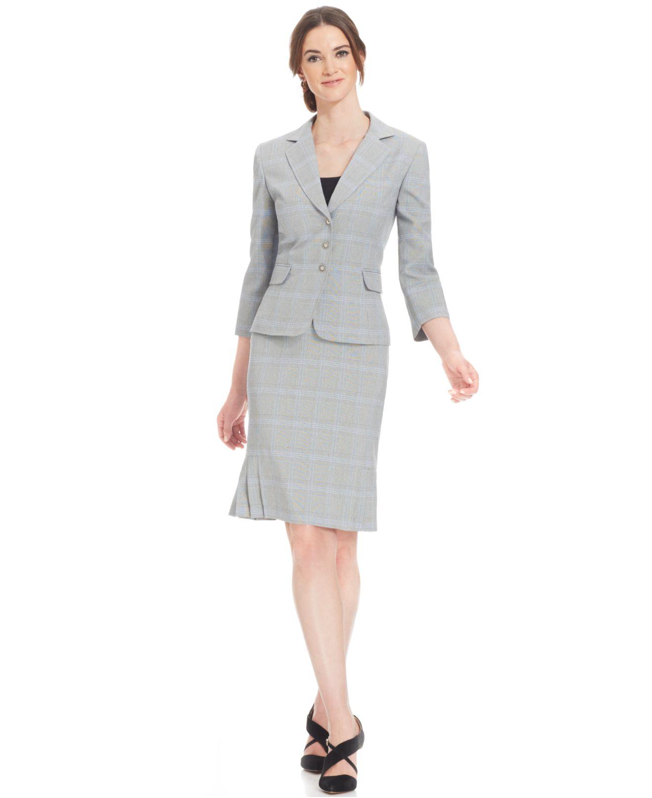 tahari houndstooth skirt suit in blue lyst