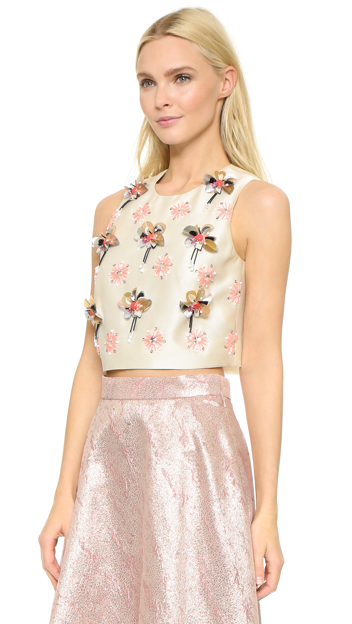 Lela rose embroidered crop top in gray lyst