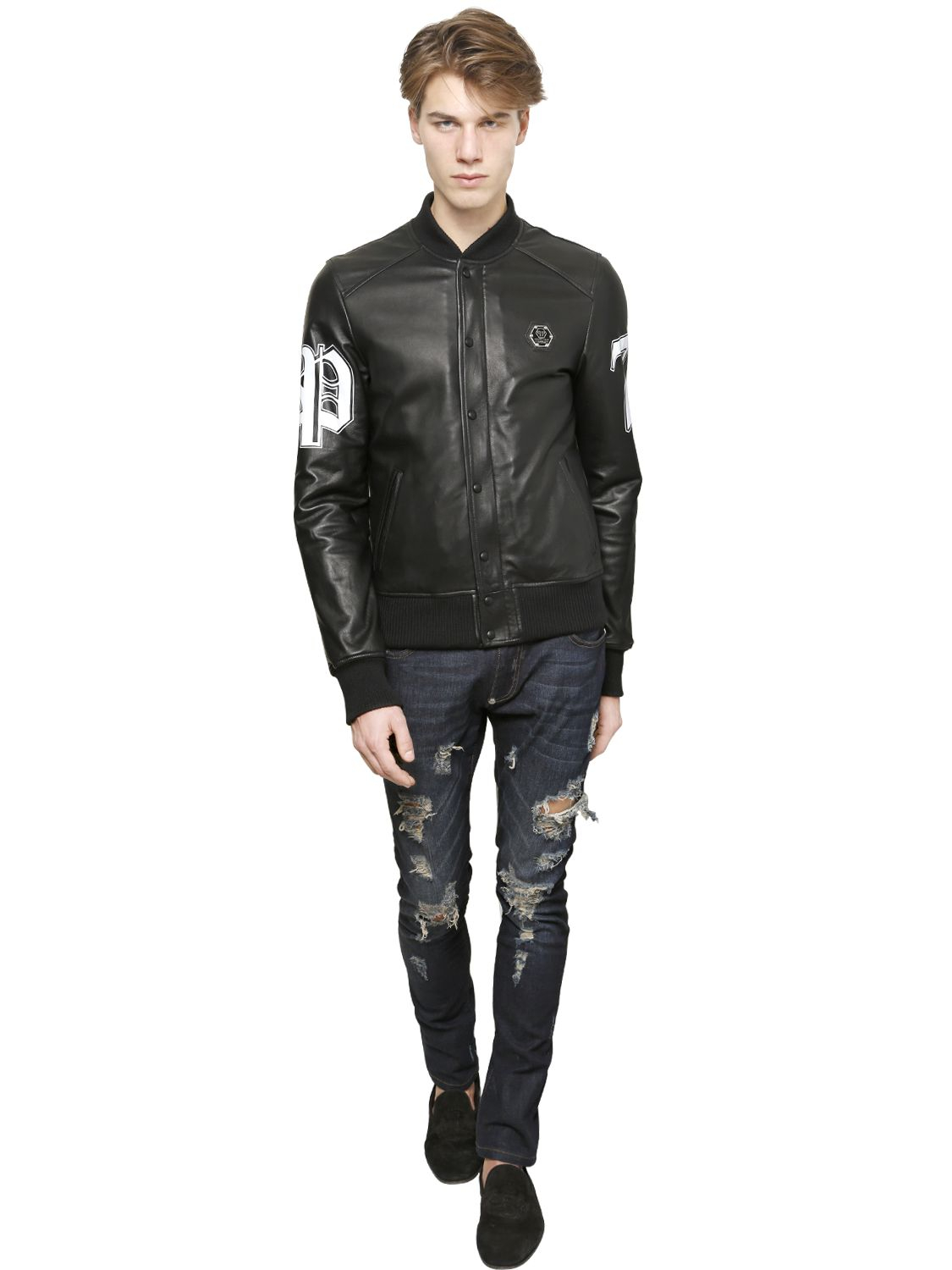 Philipp plein Bad Boy Leather Bomber Jacket in Black for Men | Lyst