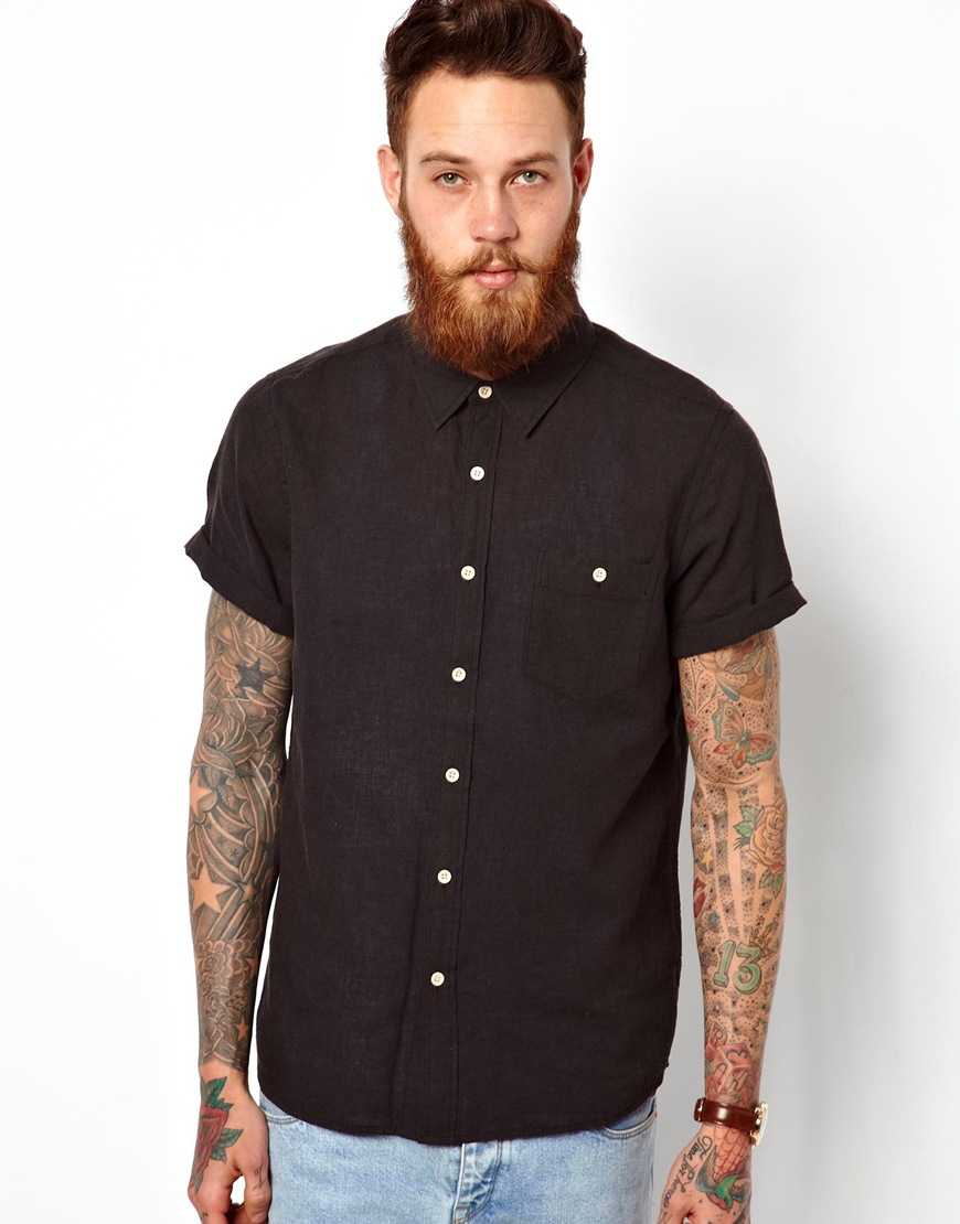 Asos Shirt In Short Sleeve With Linen Mix in Black for Men | Lyst