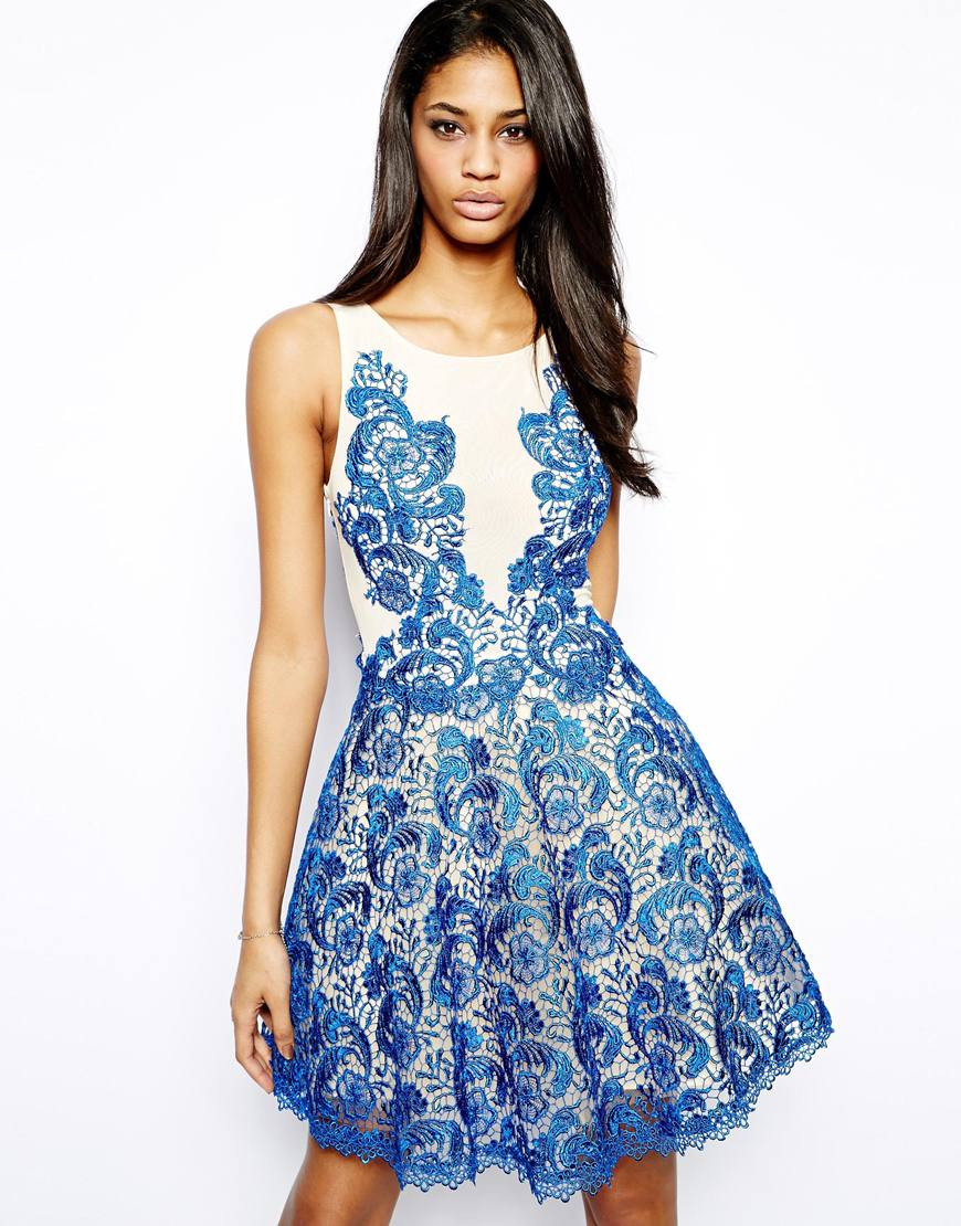Lyst - Forever Unique Lace Prom Dress in Blue