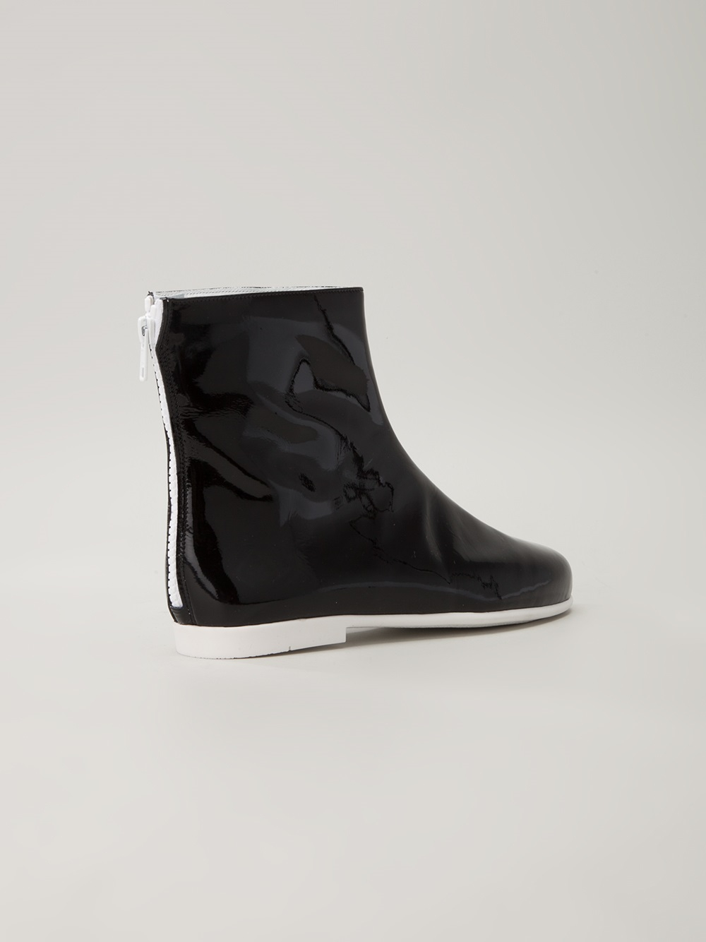 Courreges Patent Ankle Boots In Black Lyst