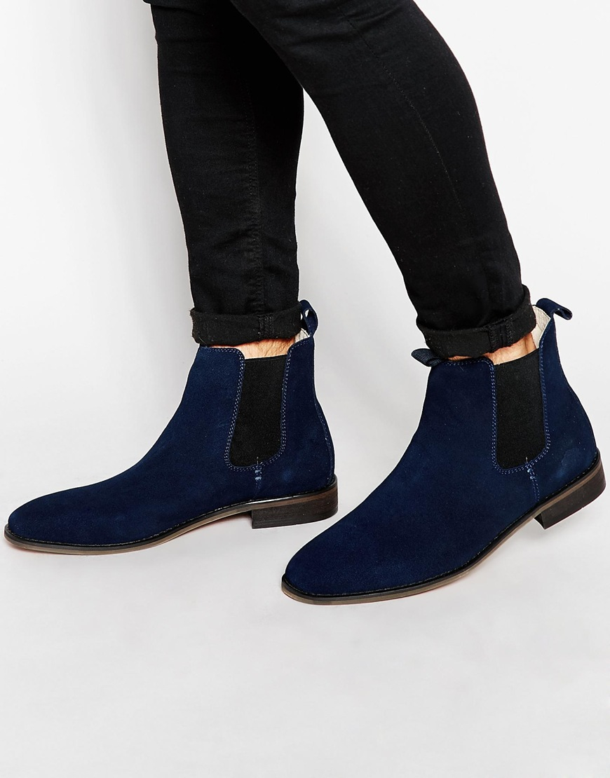 Bellfield Suede Chelsea Boots In Blue For Men Lyst