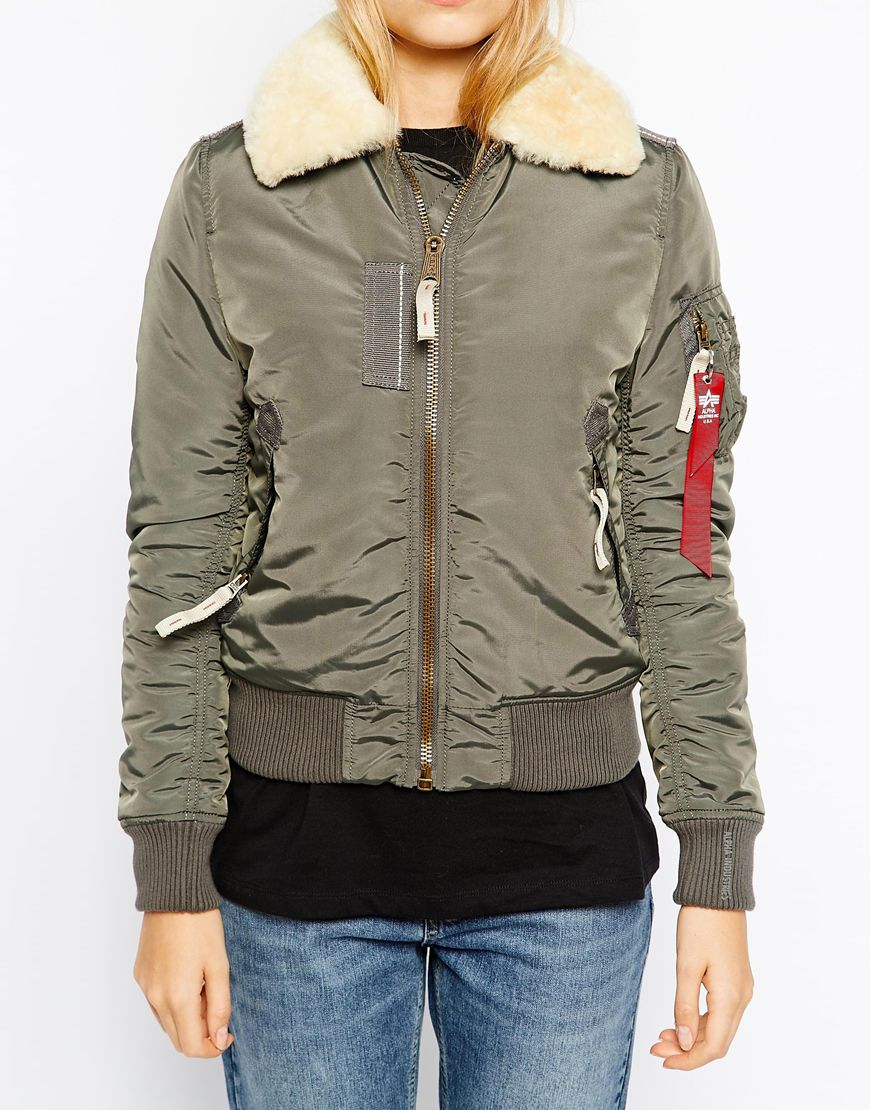 Jacket With Injector Bomber Shearling Collar zVSUMjpLGq