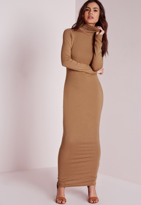 Missguided Roll Neck Long Sleeve Bodycon Maxi Camel In
