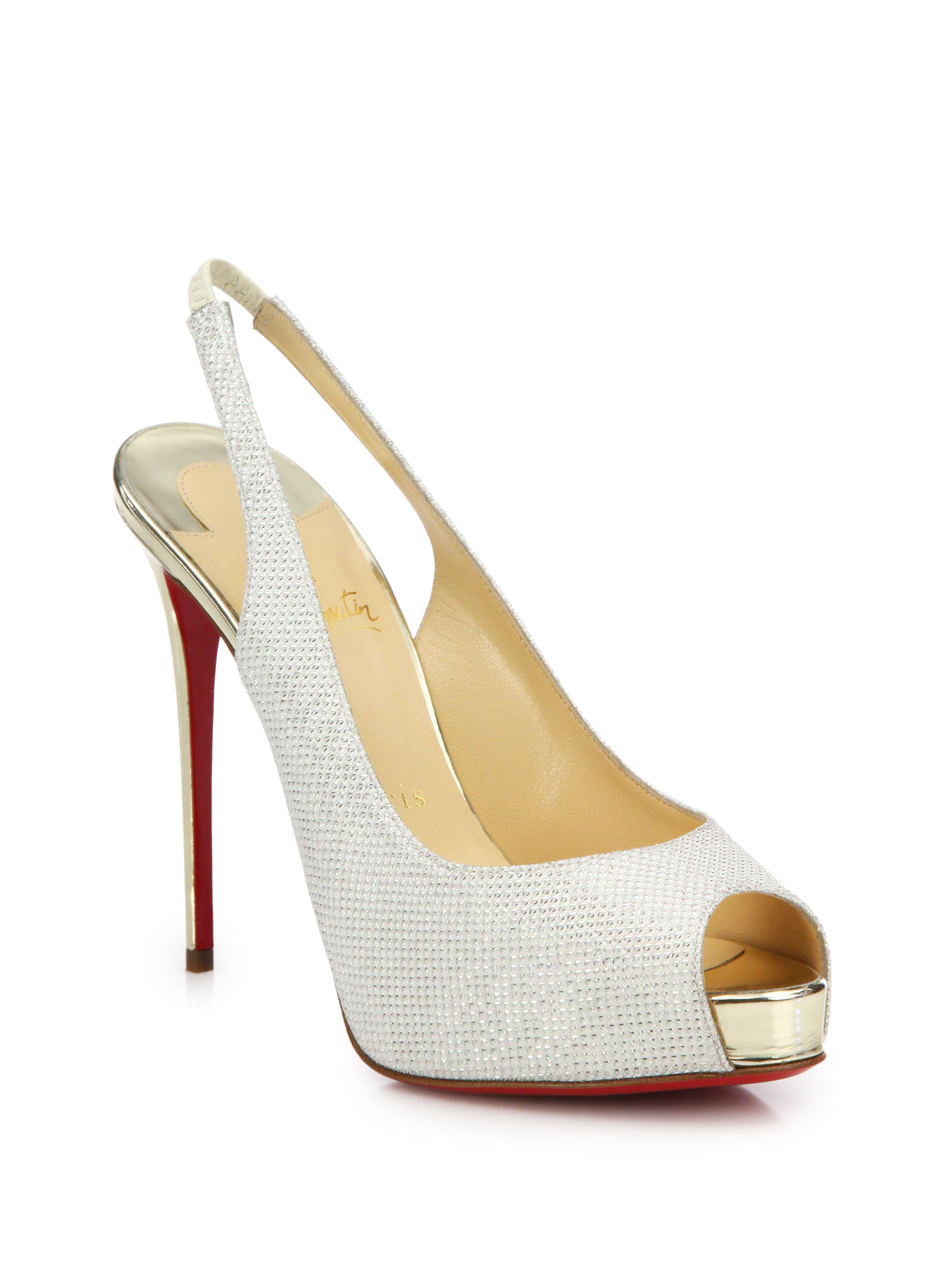 7aa3da585d2 Christian Louboutin White Private Number Glitter Slingback Pumps
