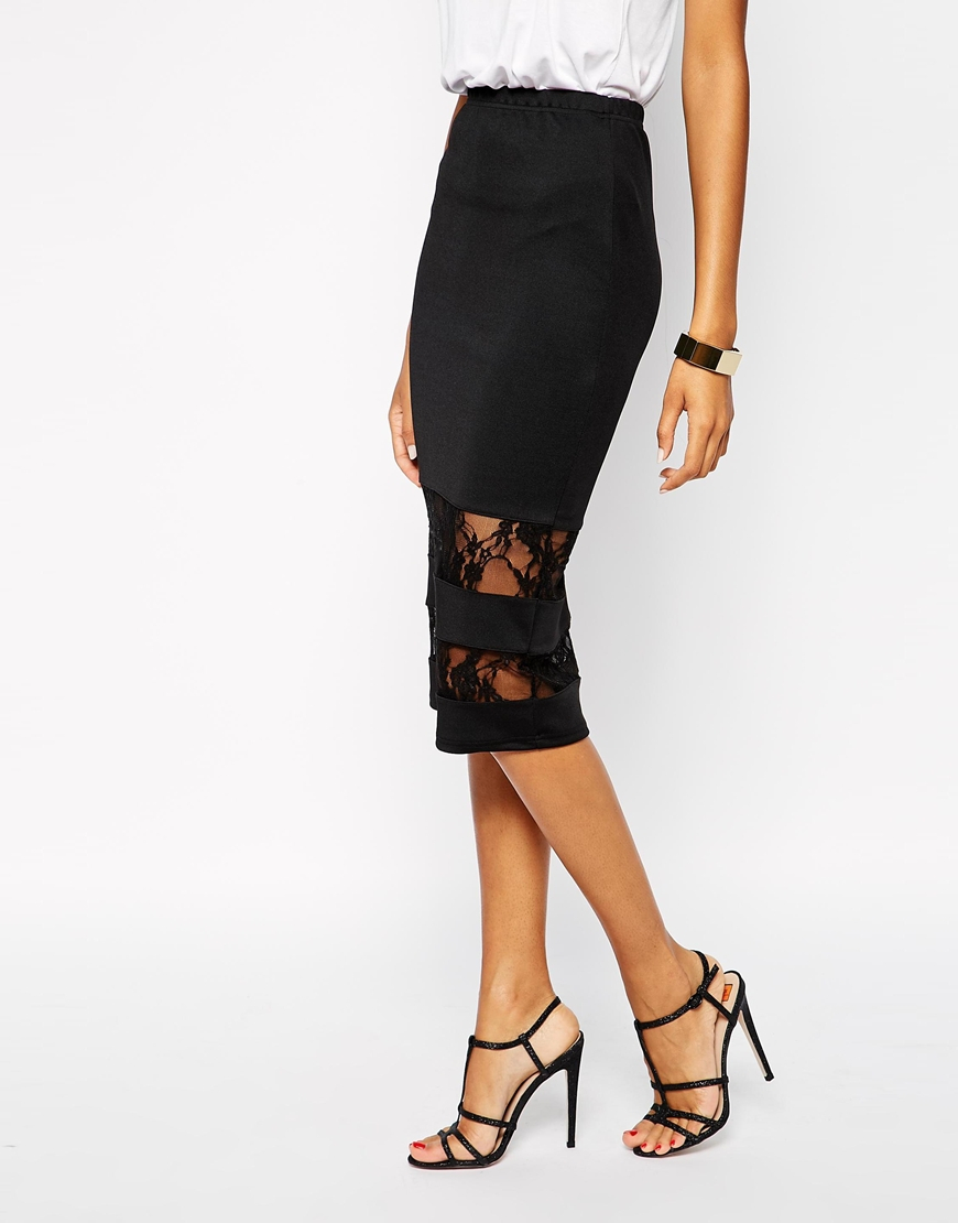 club l pencil skirt with lace inserts in black lyst