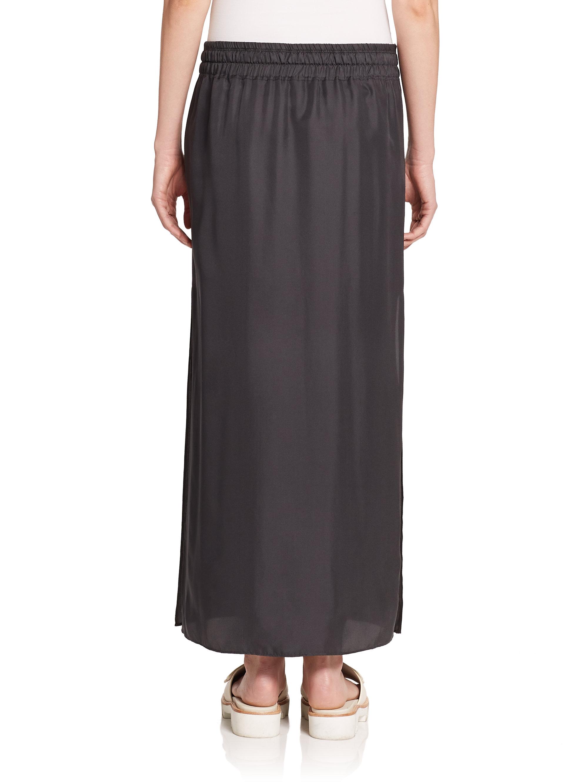 rag bone cove silk drawstring maxi skirt in black lyst
