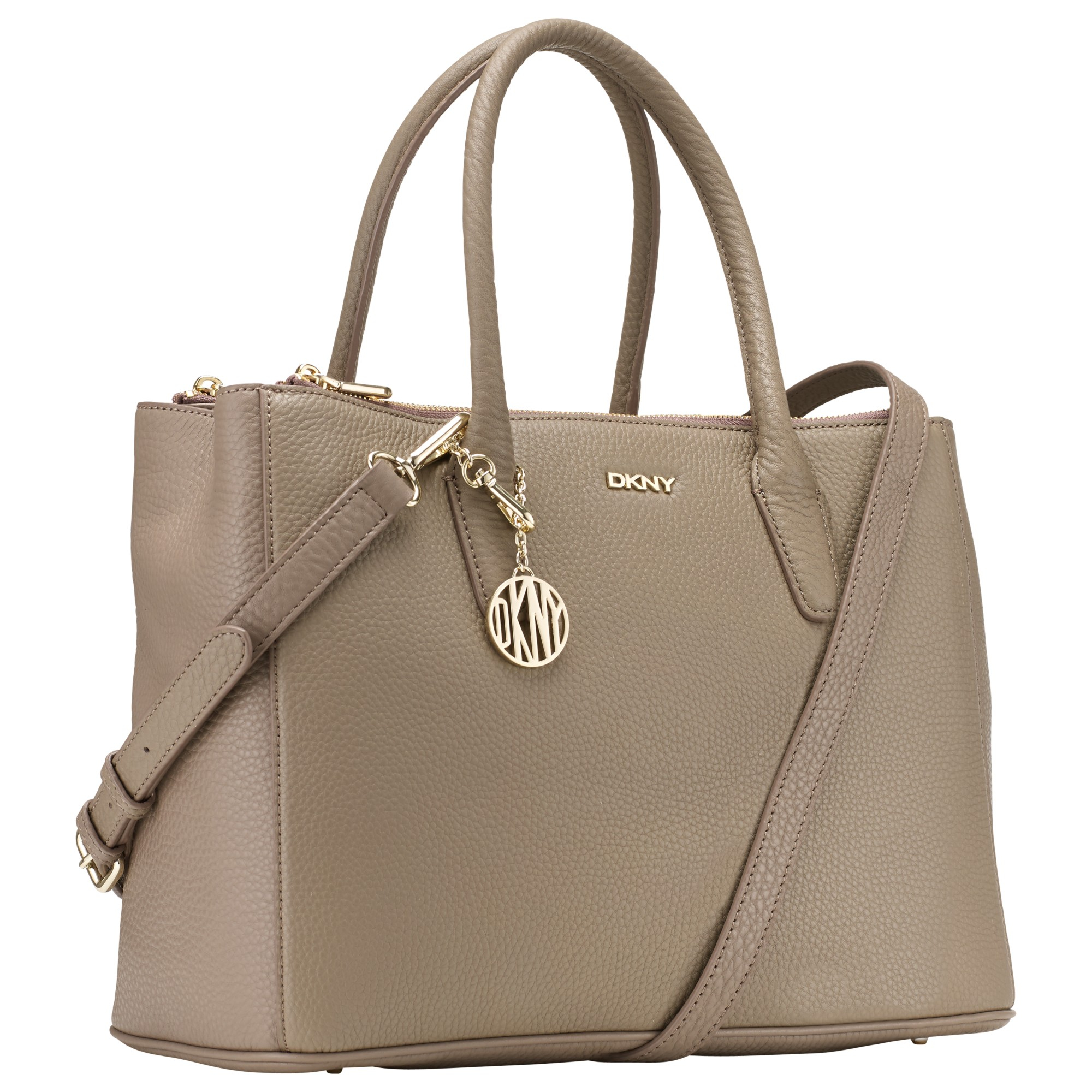 Dkny Tribeca Leather Large Zipped Shopper Bag in Natural | Lyst