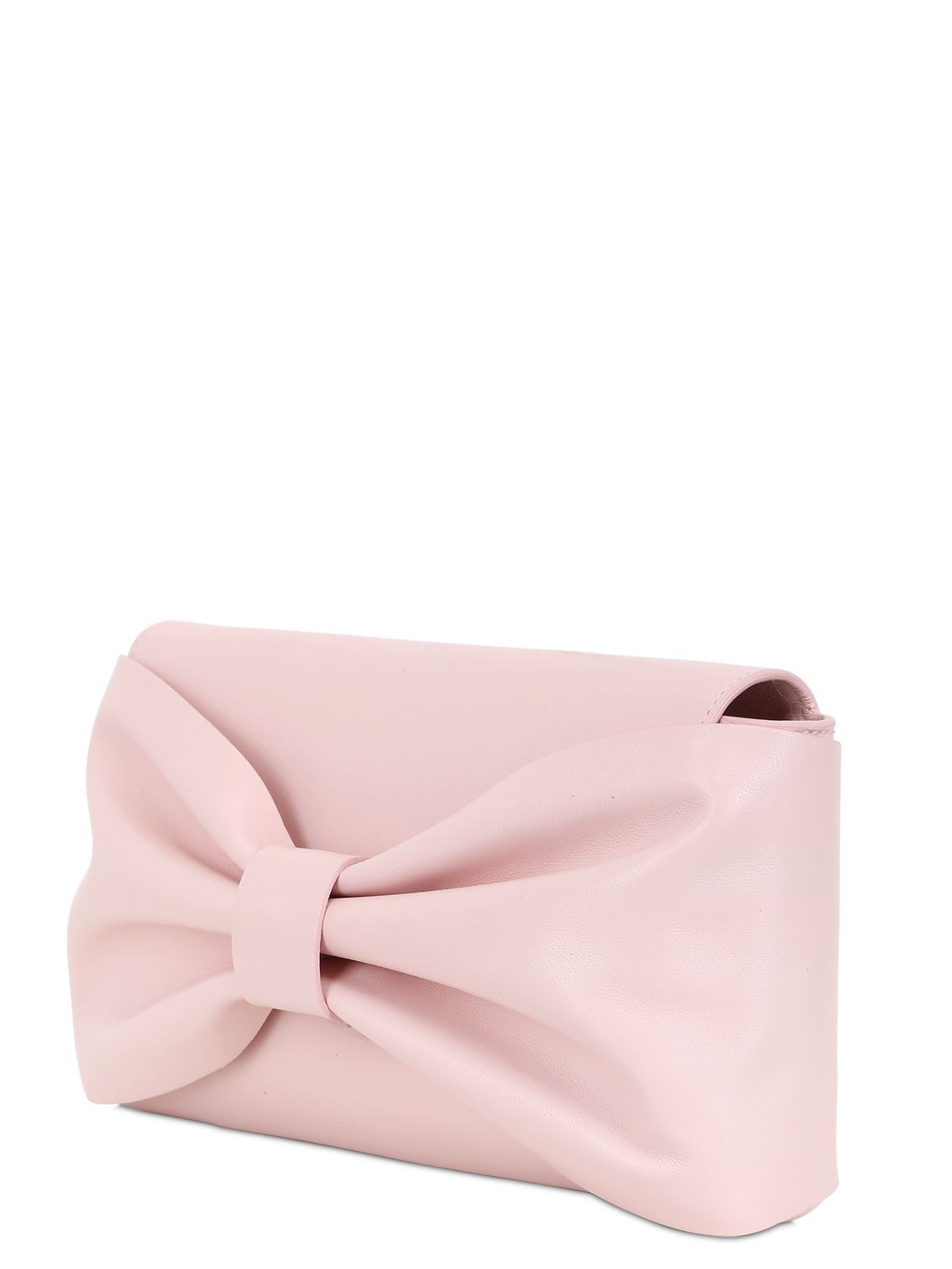 RED Valentino Nappa Leather Bow Clutch Bag in Pink - Lyst 70c1368619fa