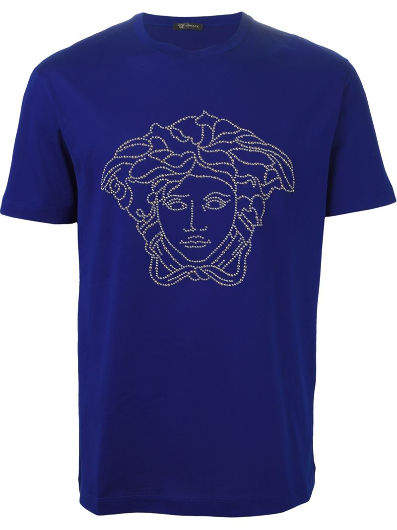 versace medusa t shirt in blue for men lyst. Black Bedroom Furniture Sets. Home Design Ideas