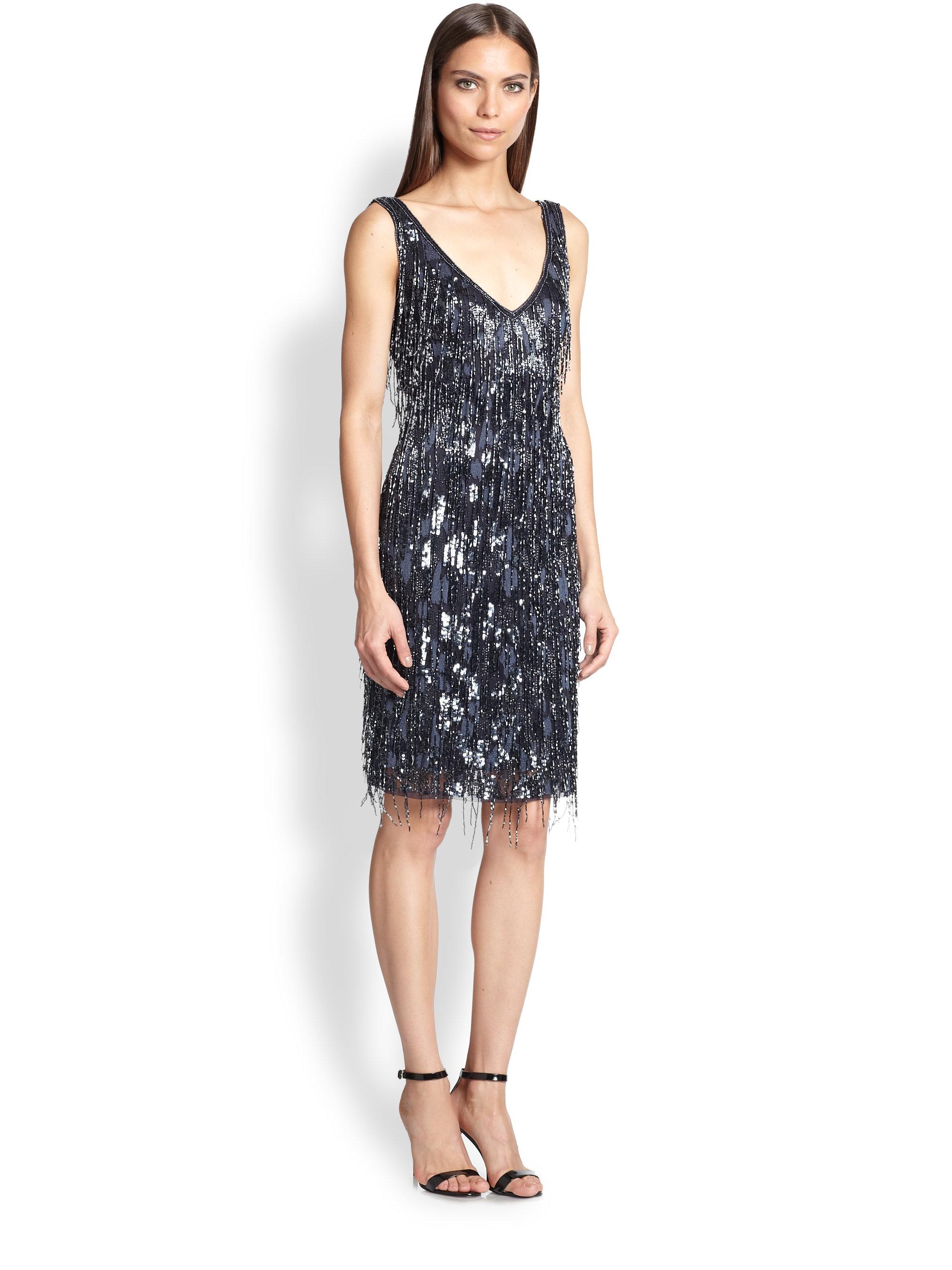 theia beaded fringe dress in blue lyst
