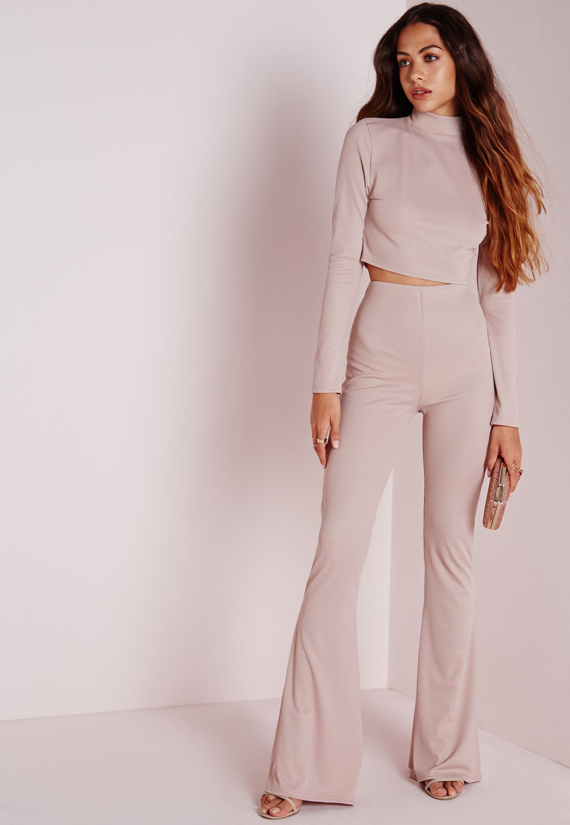 Lyst - Missguided Ribbed Wide Leg Trousers Nude in Natural 37fe4774dd6a