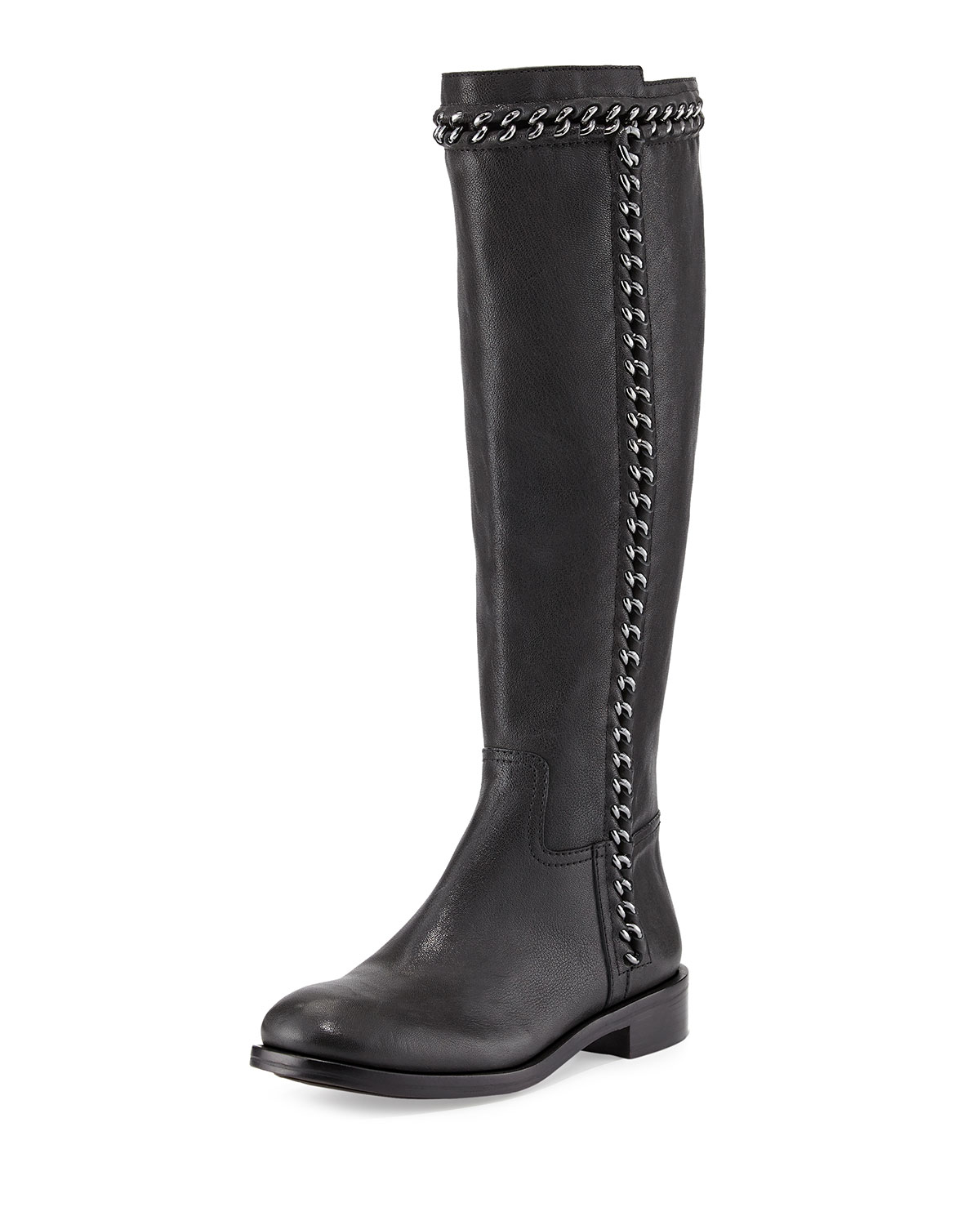 Tory Burch Bloomfield Chain Detail Knee Boot In Black Lyst