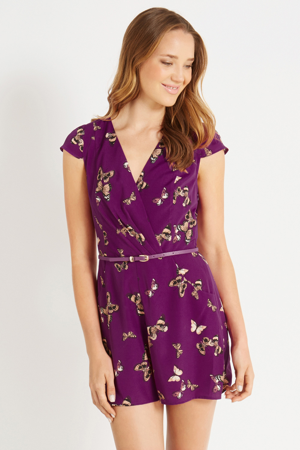 bc2578d761 Lyst - Oasis Butterfly Wrap Playsuit in Purple