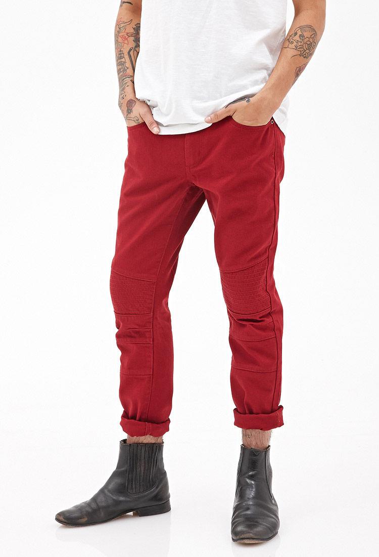21men Slim Fit Moto Jeans in Red for Men | Lyst