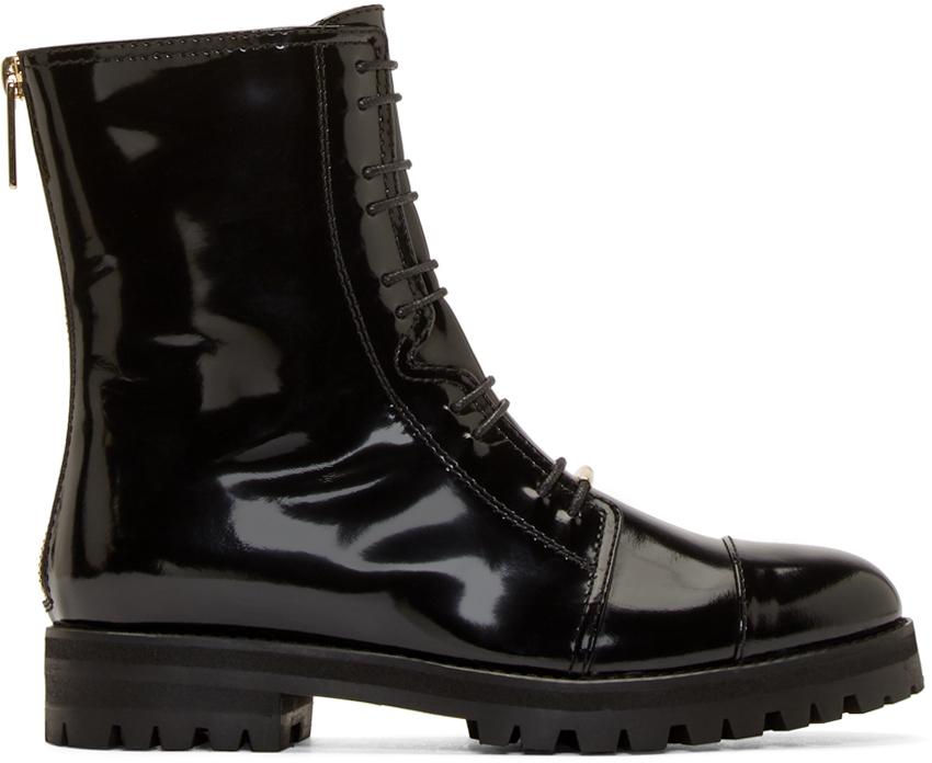 jimmy choo black patent flat combat boots in black lyst