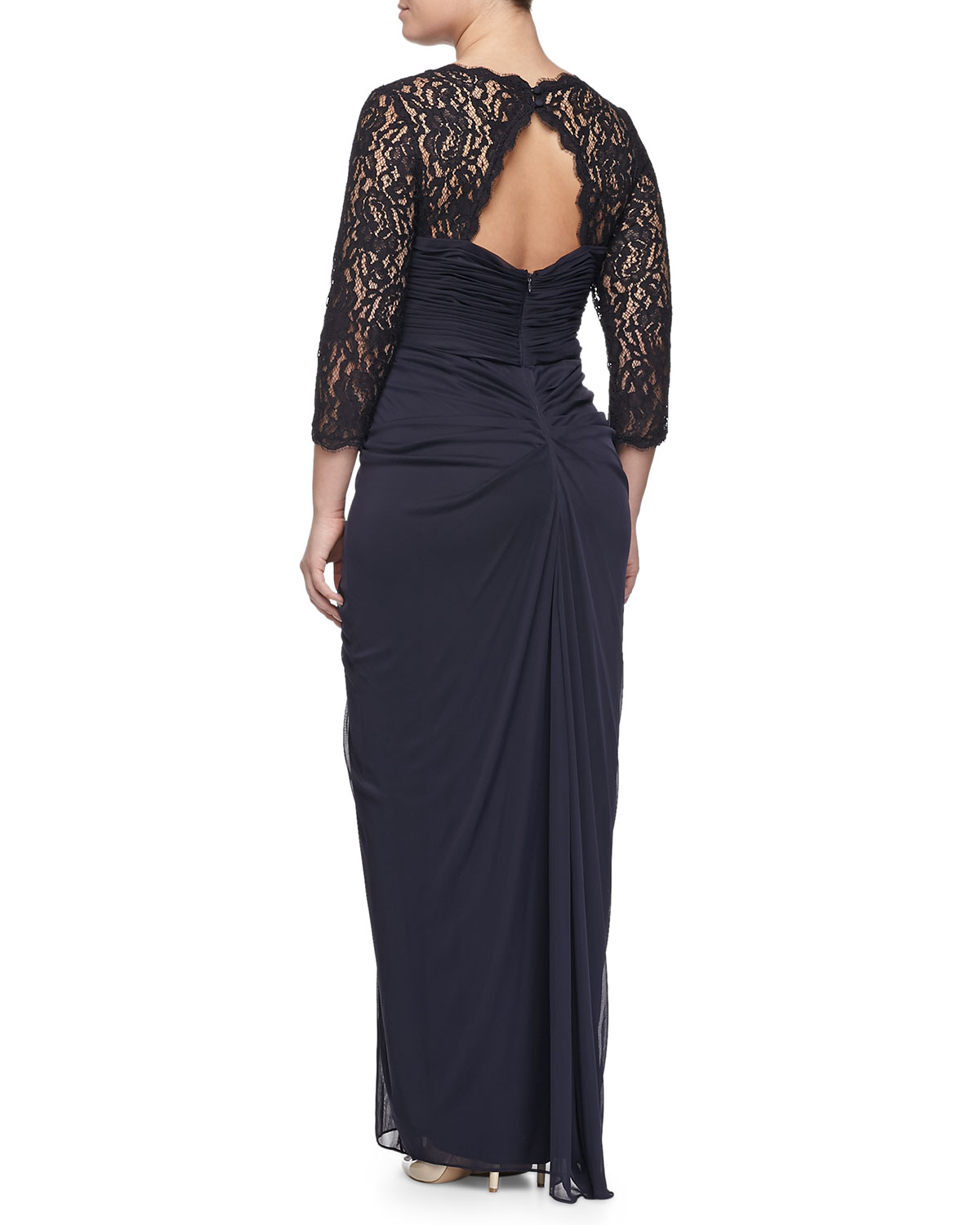 Lyst - Adrianna Papell Lace Raglan Draped Gown, Ink in Blue