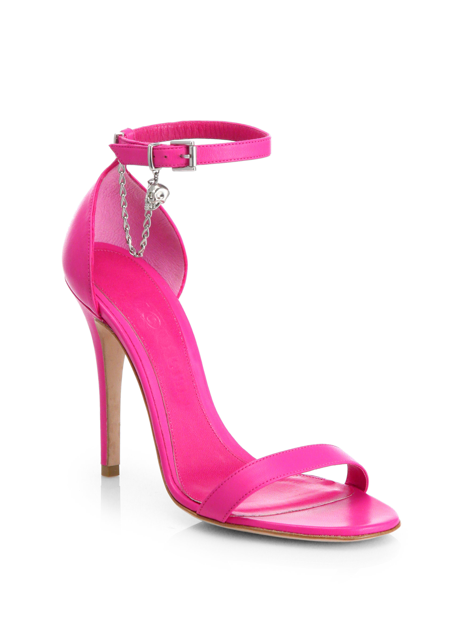 Alexander Mcqueen Skull Leather Ankle Strap Sandals In