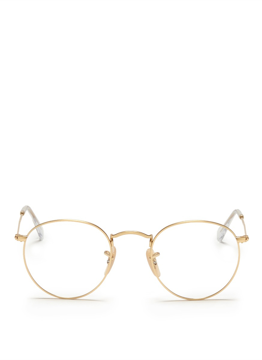 3172cb18b9ab78 Ray-Ban Round Metal Optical Glasses in Metallic - Lyst