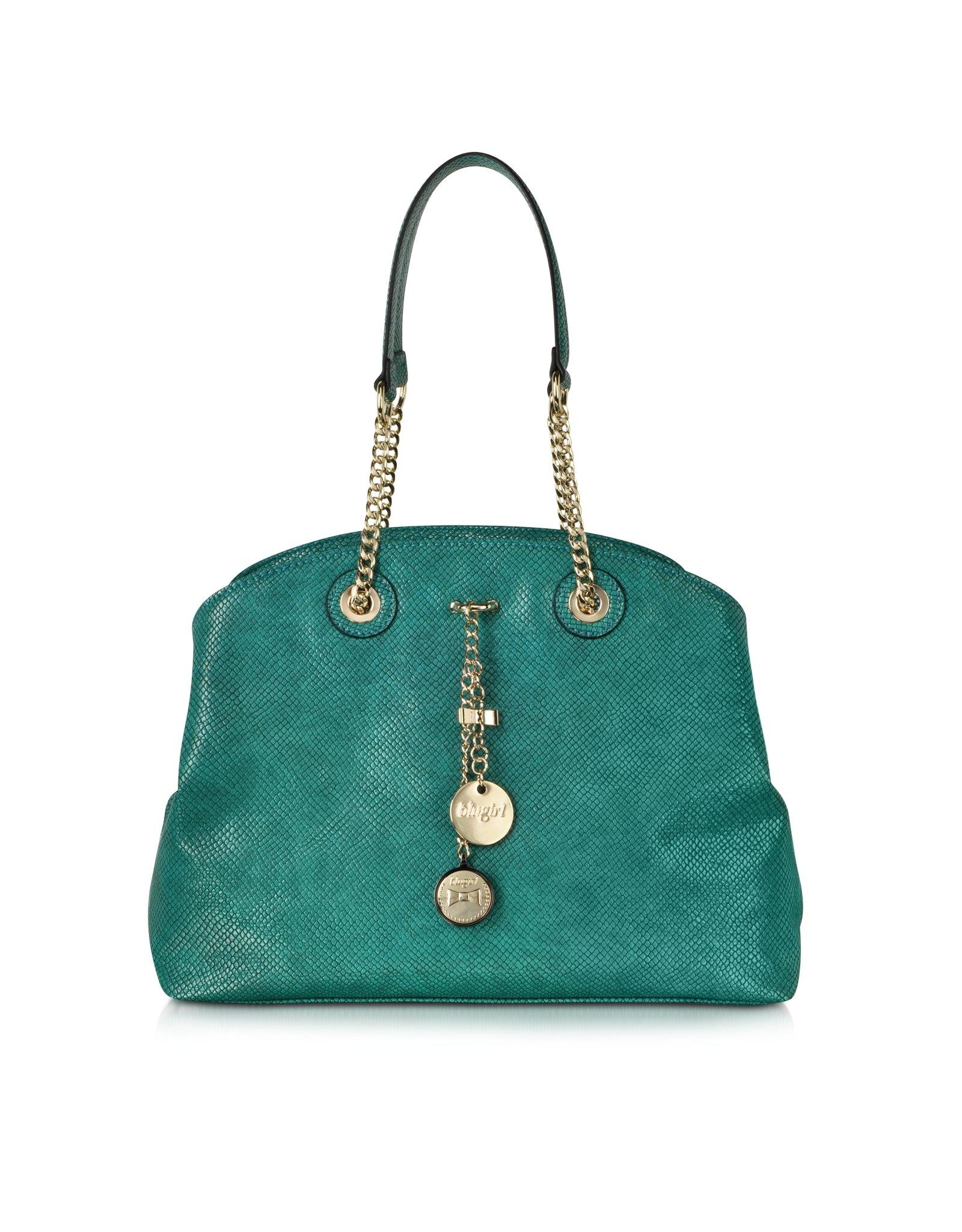Blugirl Blumarine Emerald Green Lizard Stamped Eco Leather Shoulder ... a3bbf233e3