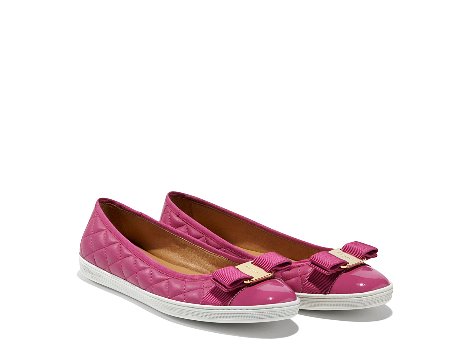 ferragamo ballet sneaker with vara bow in pink lyst