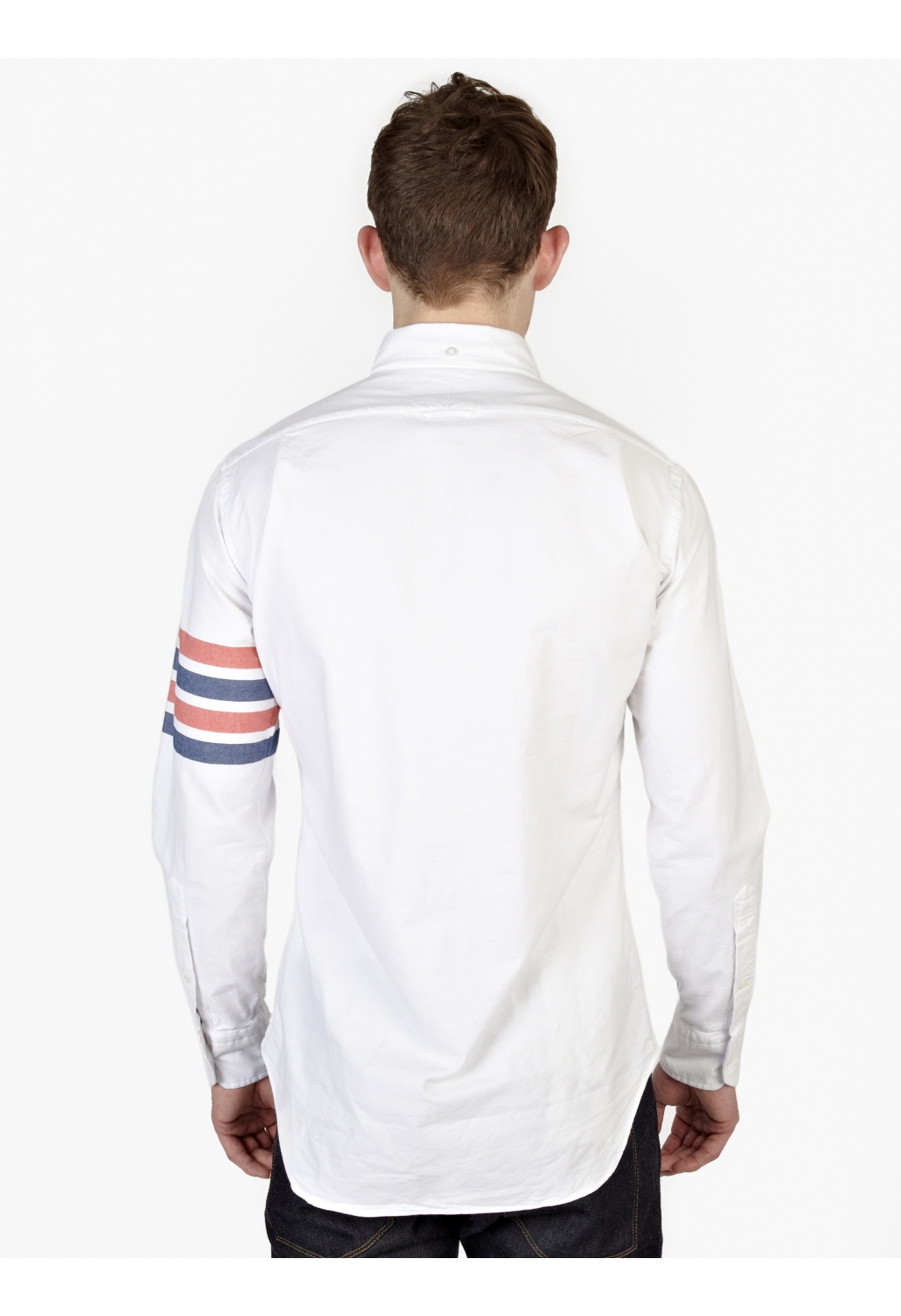Thom Browne Men S White Cotton Oxford Shirt In Multicolor
