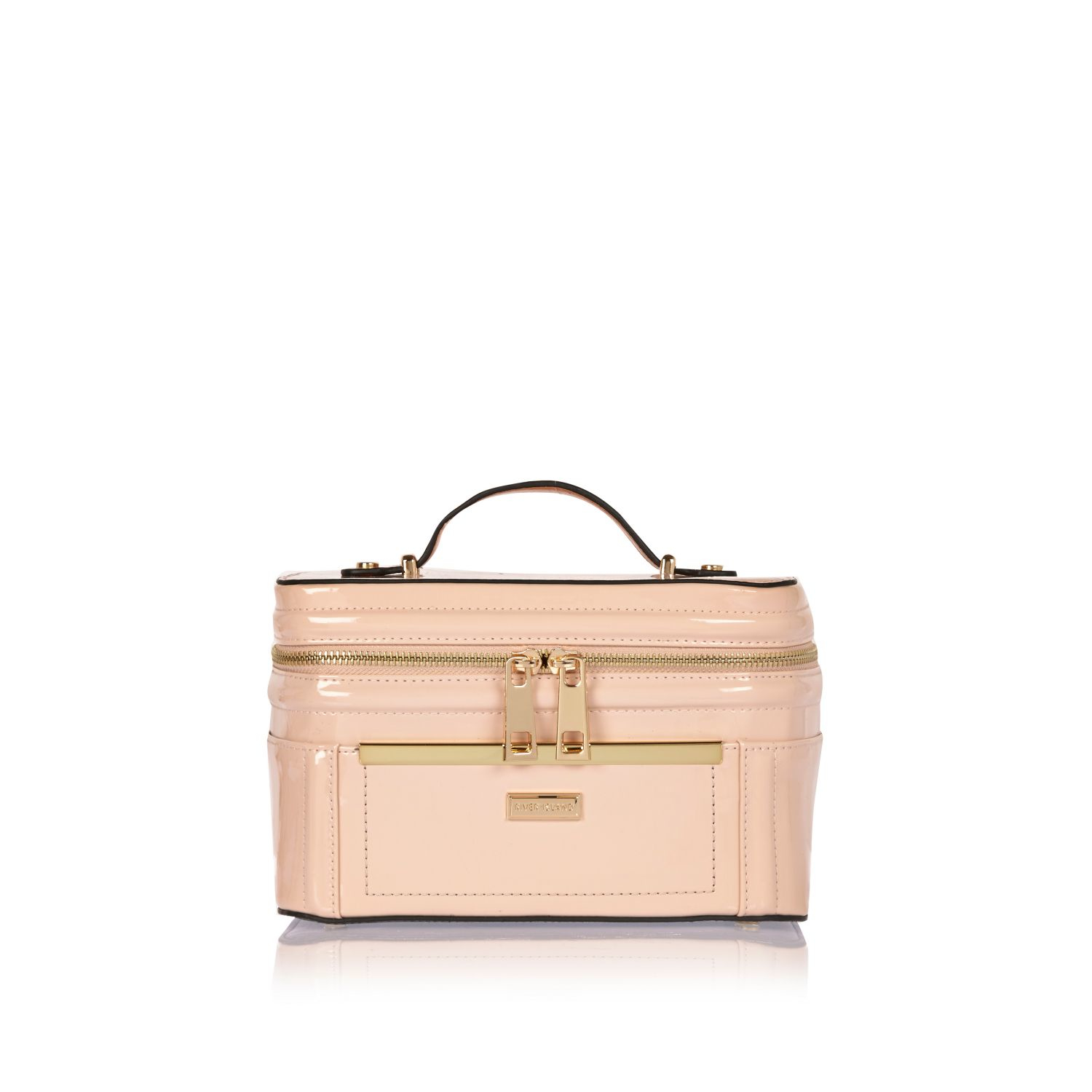 River island Pink Zip Front Jewellery Case Pink Patent Make Up ...