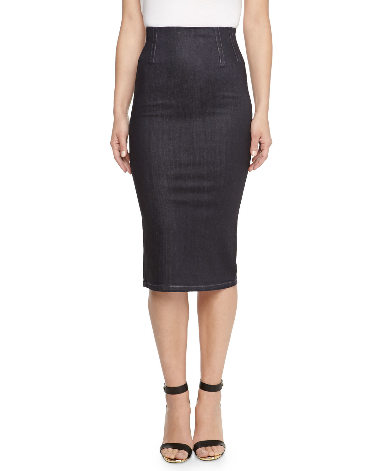 stella mccartney high waist knee length denim skirt in