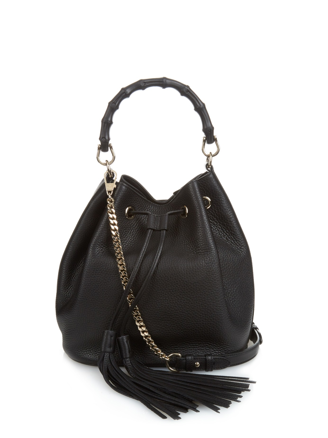 Gucci Bamboo Leather Bucket Bag In Black Lyst