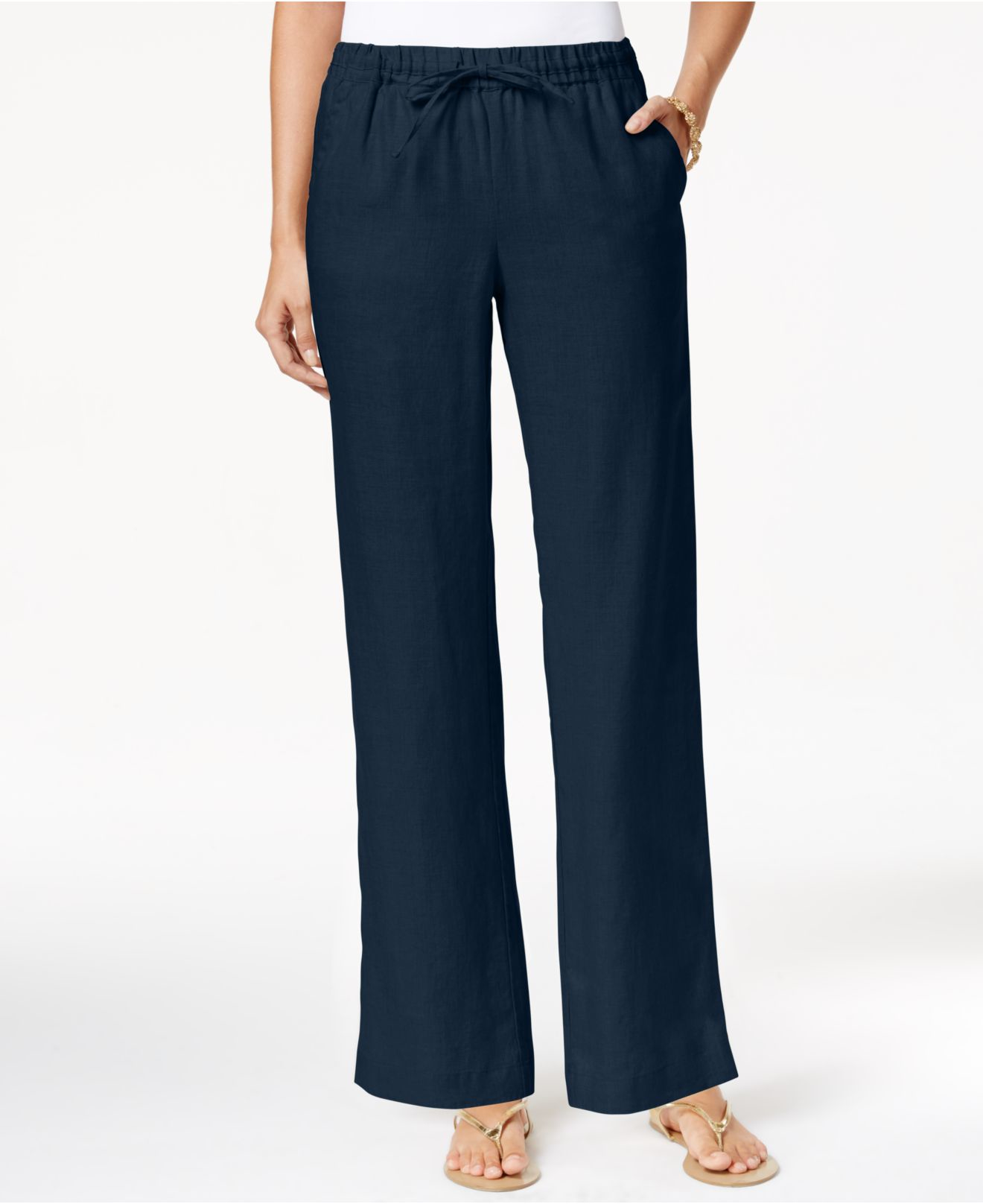 Charter club Linen Pull-on Drawstring Pants, Only At Macy ...