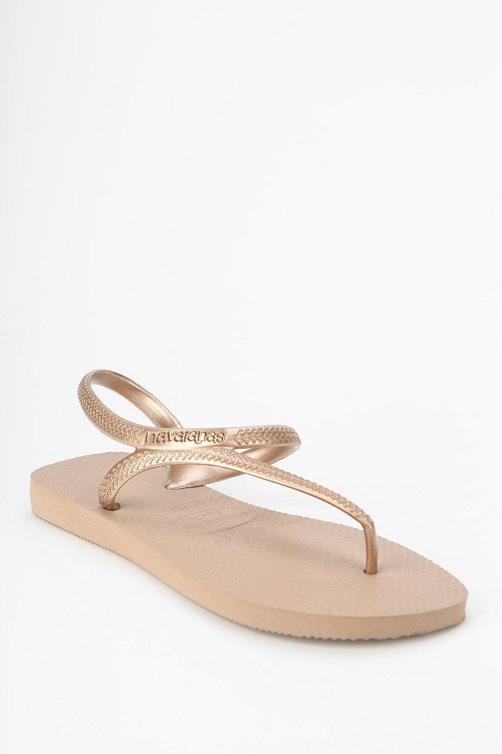 276f2d2ad Lyst - Havaianas Flash Anklewrap Thong Sandal in Metallic