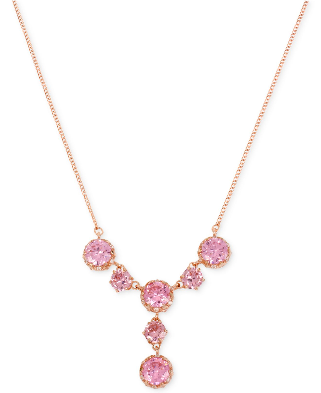 Lyst betsey johnson rose gold tone pink crystal y shaped necklace gallery audiocablefo