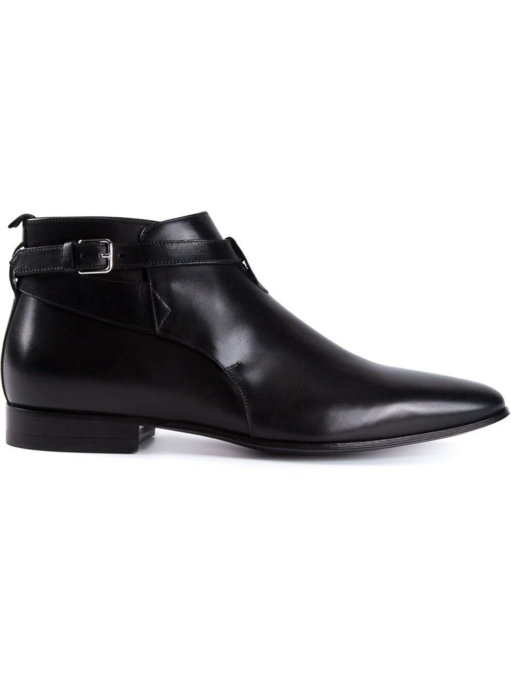 Lyst Saint Laurent Leather Boots In Black