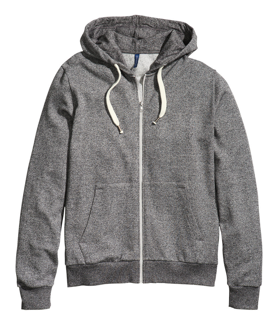 H&M Cotton Hooded Jacket in Black Melange (Black) for Men ...