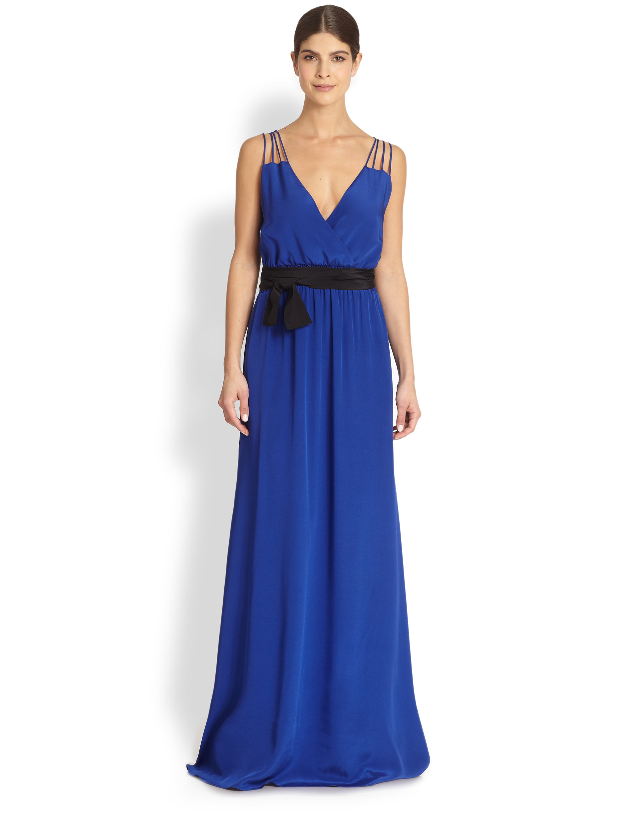 Great option for summer dates. Best on taller frames. Amanda Uprichard Silk Maxi Dress available at Find this Pin and more on Sexy Date Looks & Tips by Teresa Foss Del Rosso. royal blue silk maxi- .