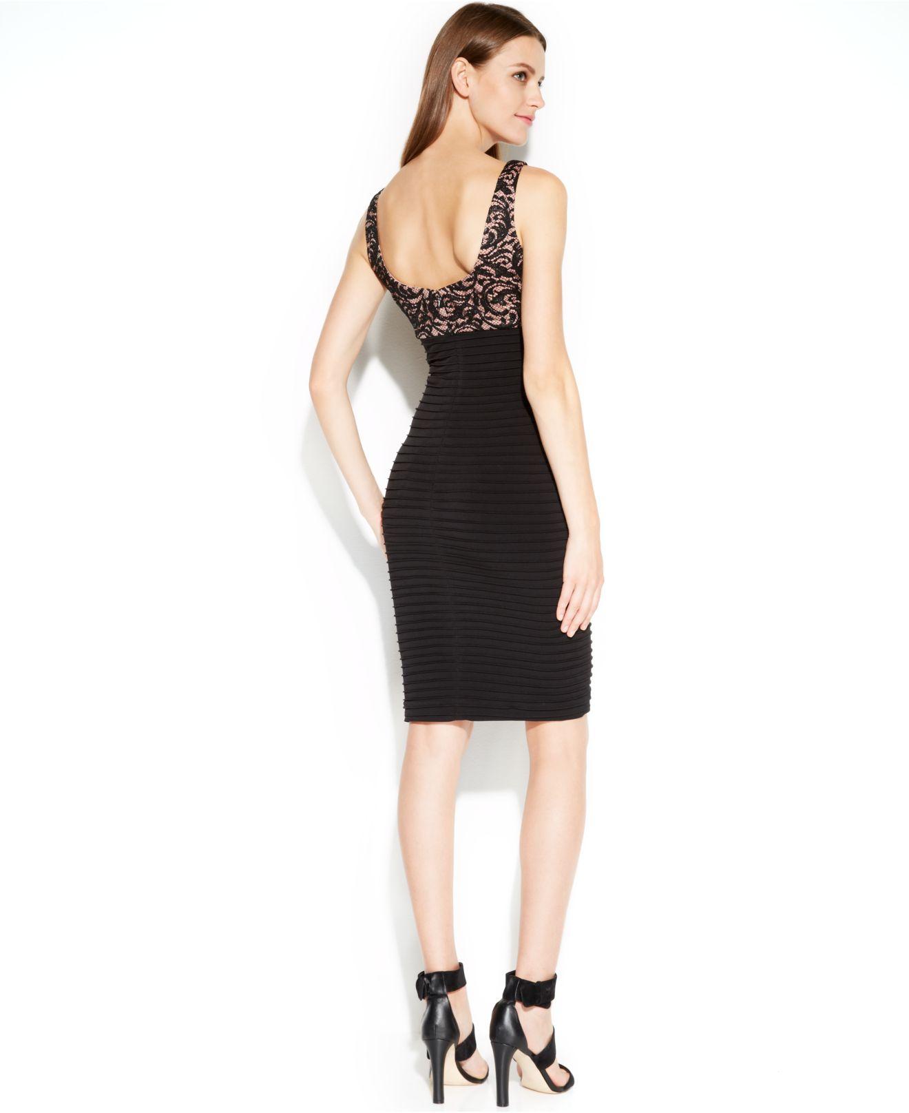 Calvin klein Sleeveless Lace Bandage Dress in Black (Black ...