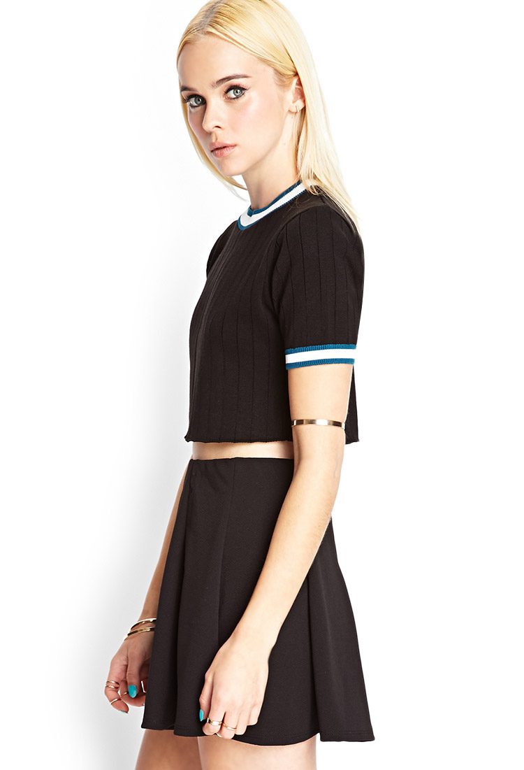 Forever 21 Cropped Short-sleeve Sweater in Black | Lyst