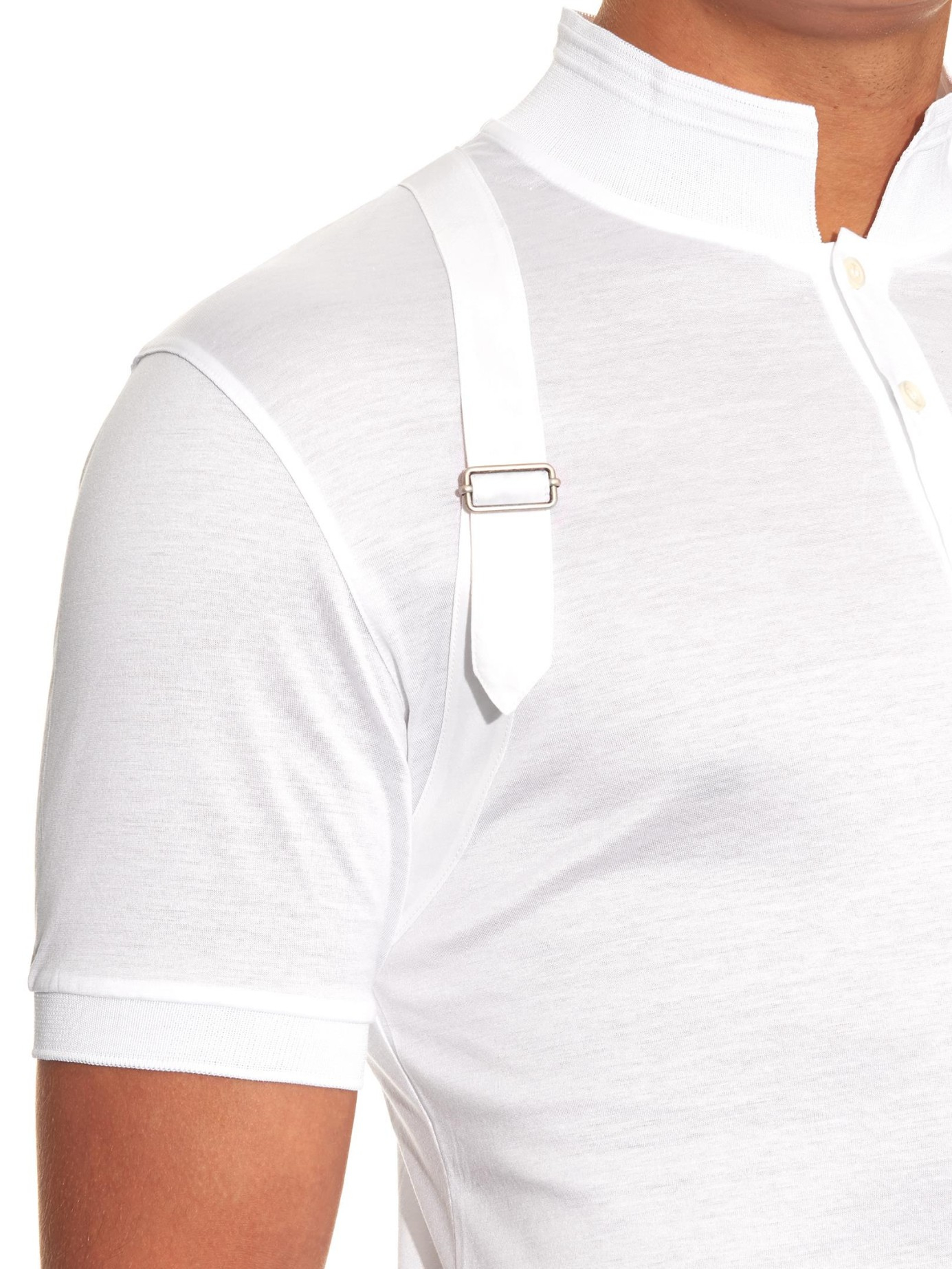 Lyst alexander mcqueen harness stand collar polo shirt for Alexander mcqueen shirt men