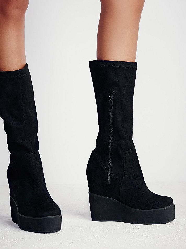2acd38dc01e Lyst - Free People Verge Platform Wedge Boot in Black