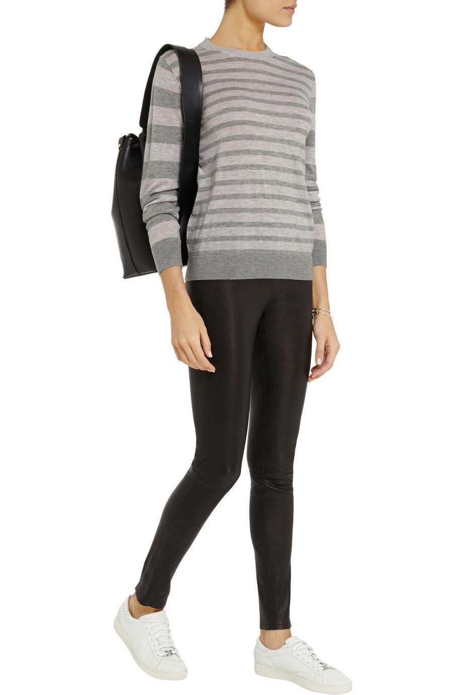 Iris & ink Lola Striped Cashmere Sweater in Gray
