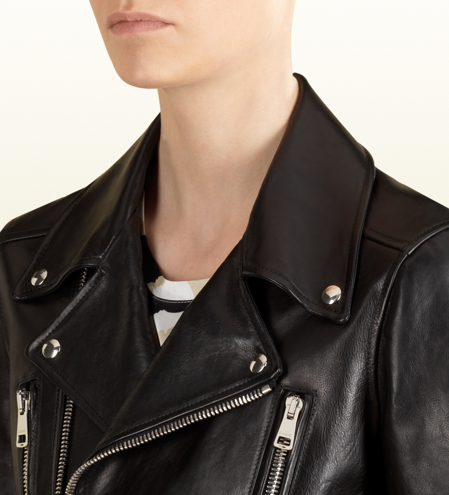 9531d5969 Gucci Black Leather Biker Jacket