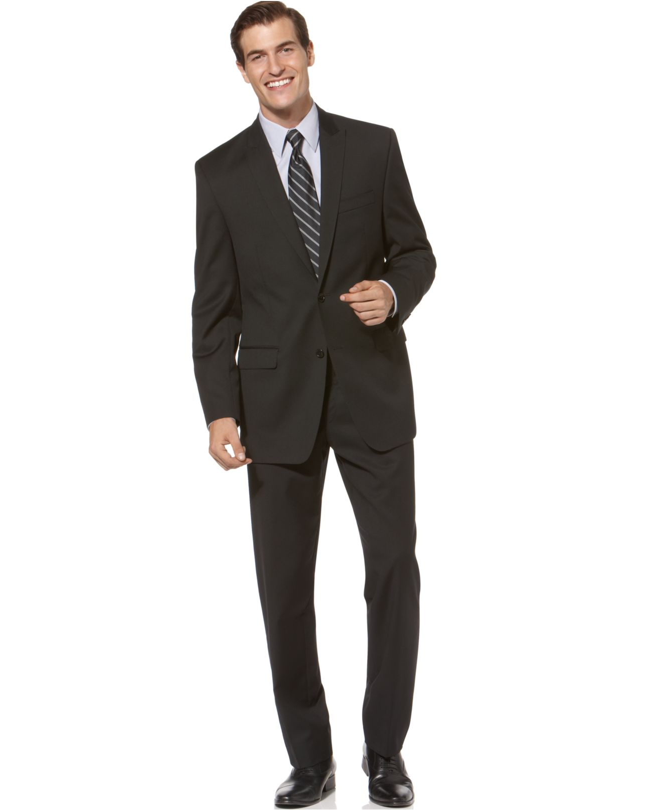 Calvin klein Black Solid Slim-fit Suit in Black for Men ...