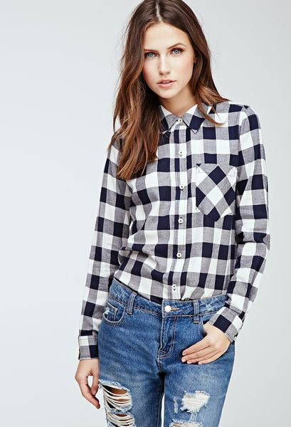 Forever 21 Gingham Button Down Shirt In Blue Navy Cream