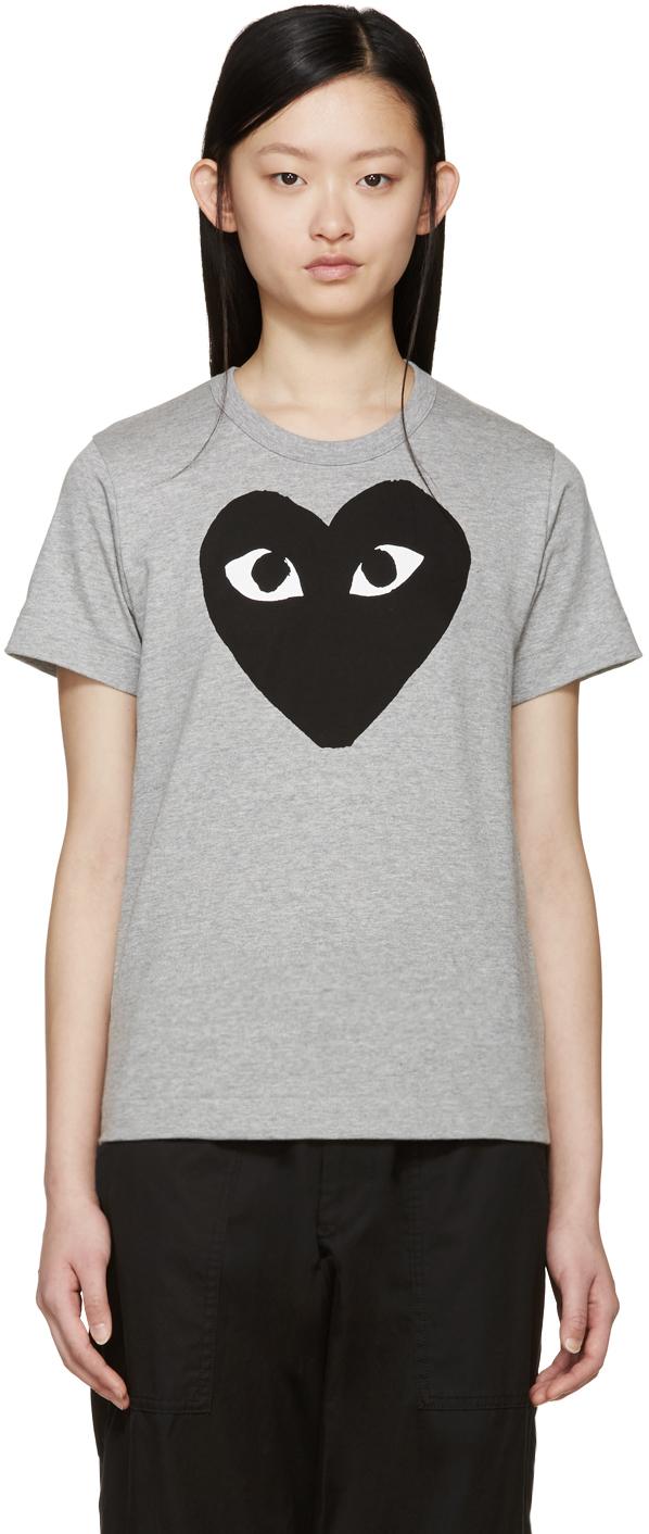 Play comme des garçons Grey Heart T-shirt in Gray   Lyst
