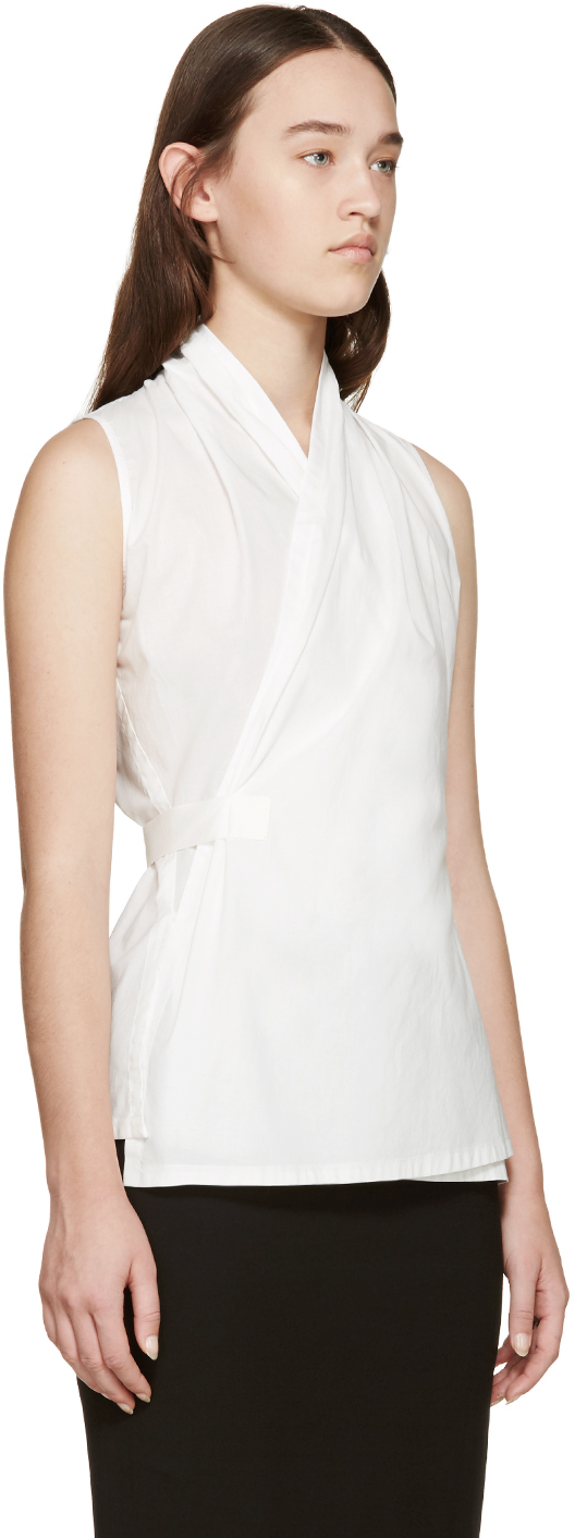 Womens White Wrap Blouse 43