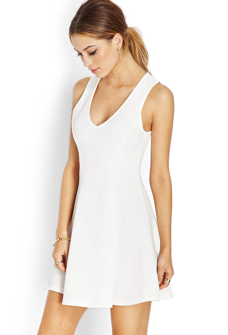 Lyst - Forever 21 Scuba Knit Fit & Flare Dress in White - photo #38