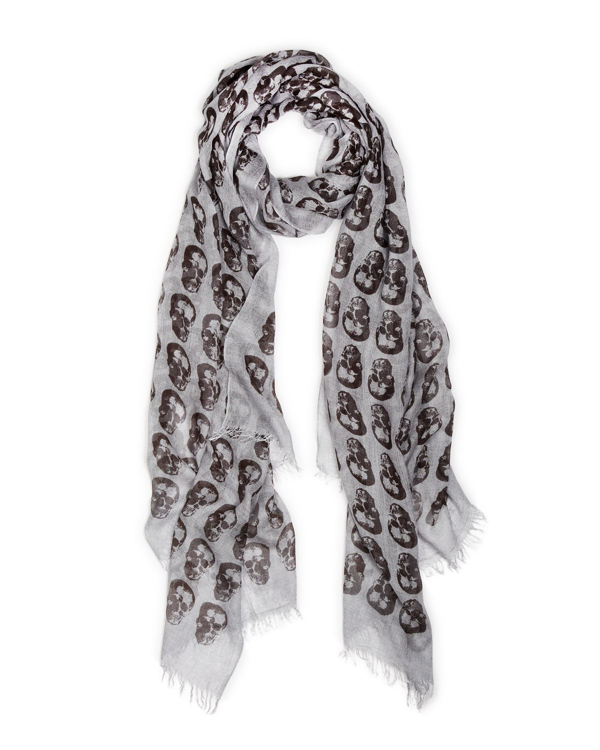 varvatos skull print scarf in gray for lyst
