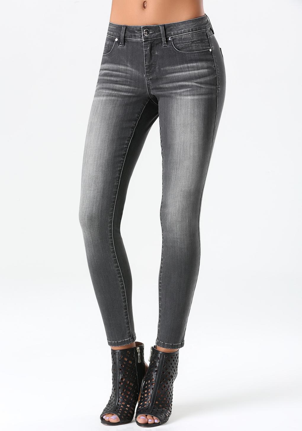 Bebe Grey Skinny Jeans in Blue | Lyst