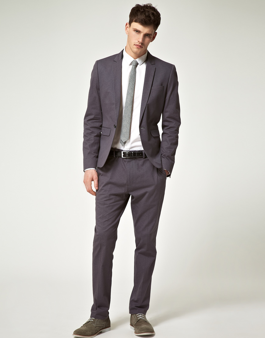 Asos Slim Fit Suit Jacket In Gray in Gray for Men | Lyst